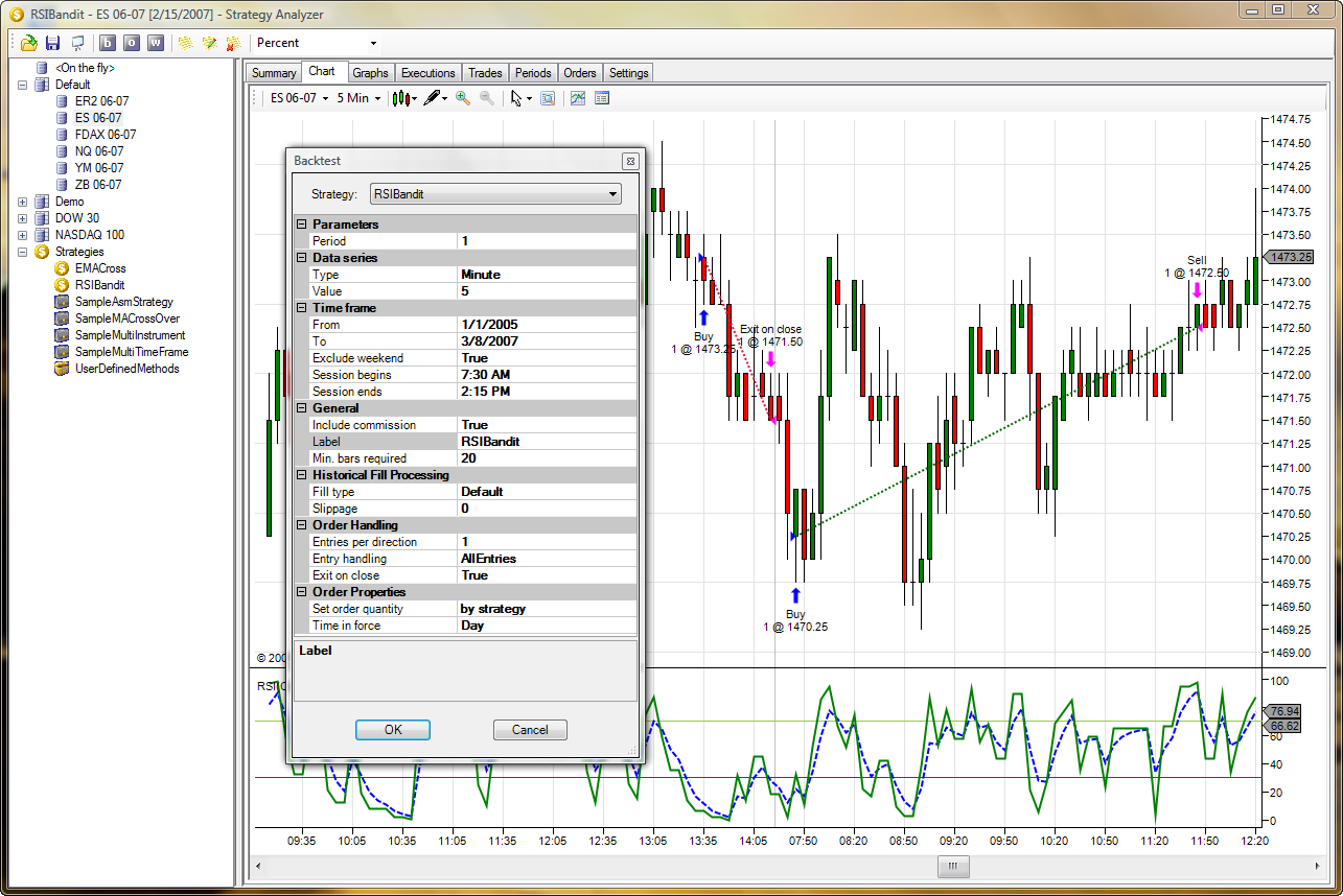 Trading system backtesting
